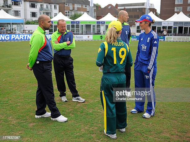 Jodie Fields of Australia and Charlotte Edwards of England inspect the pitch with the umpires during the England Women and Australia Women Ashes...