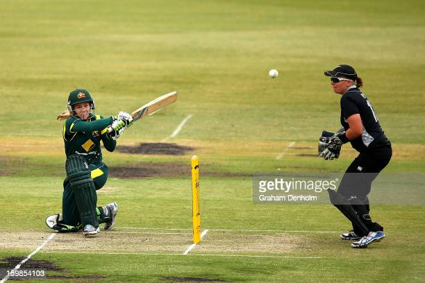 Jodie Fields of Australia bats during the Women's International Twenty20 match between the Australian Southern Stars and New Zealand at Junction Oval...