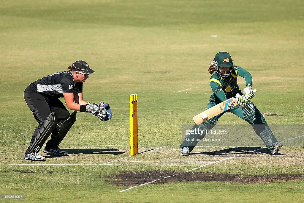Jodie Fields of Australia (R) bats during the Women's International Twenty20 match between the Australian Southern Stars and New Zealand at Junction Oval on January 22, 2013 in Melbourne, Australia.
