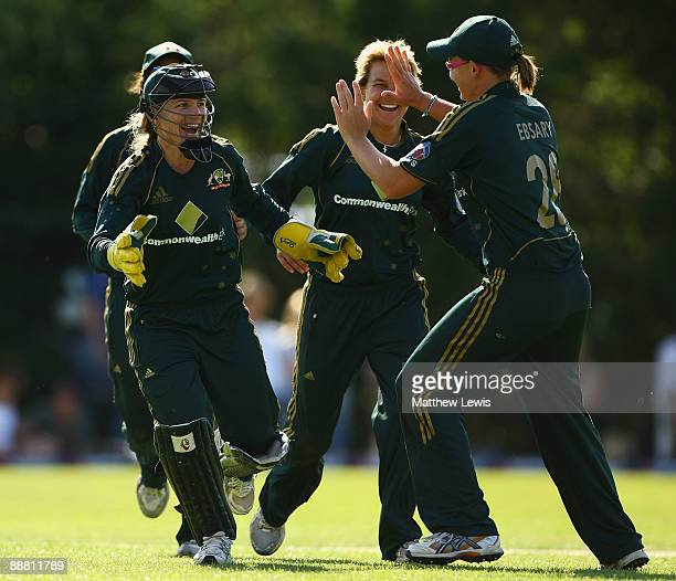 Jodie Fields of Australia celebrates, after stumping Beth Morgan of England during the Women's One Day International match bewteen England and...