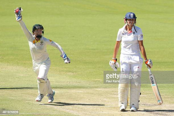 Jodie Fields of Australia celebrates after taking a catch to dismiss Jennifer Gunn of England during day three of the Women's Ashes Test match...