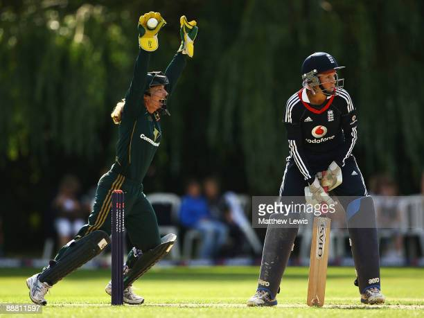 Jodie Fields of Australia celebrates catching Caroline Atkins of England during the Women's One Day International match bewteen England and Australia...
