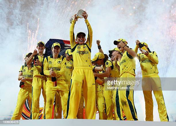Jodie Fields of Australia lifts the trophy, after her team won the ICC Women's World Twenty20 2012 Final between England and Australia at R....