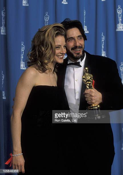 Jodie Foster and Al Pacino during 65th Annual Academy Awards at Shrine Auditorium in Los Angeles California United States