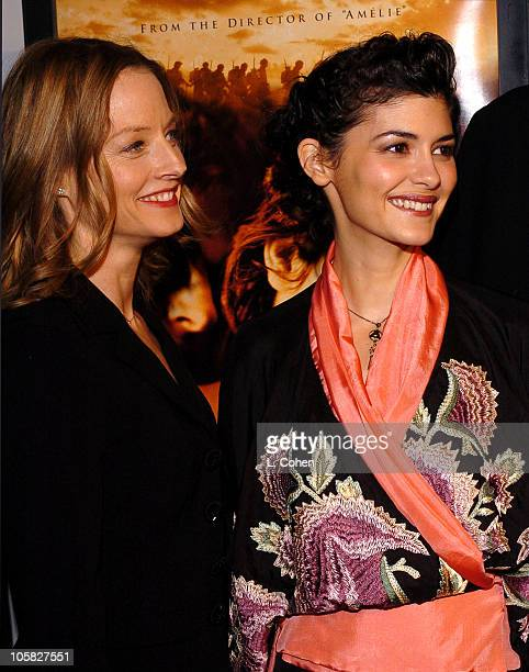Jodie Foster and Audrey Tautou during 2004 AFI Film Festival 'A Very Long Engagement' Red Carpet at Grauman's Chinese in Los Angeles California...