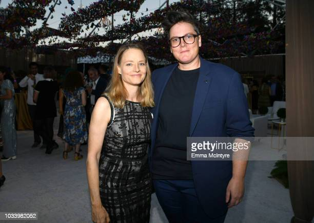 Jodie Foster and Hannah Gadsby attend Ted Sarandos' 2018 Annual Netflix Emmy Nominee Toast on September 15 2018 in Los Angeles California