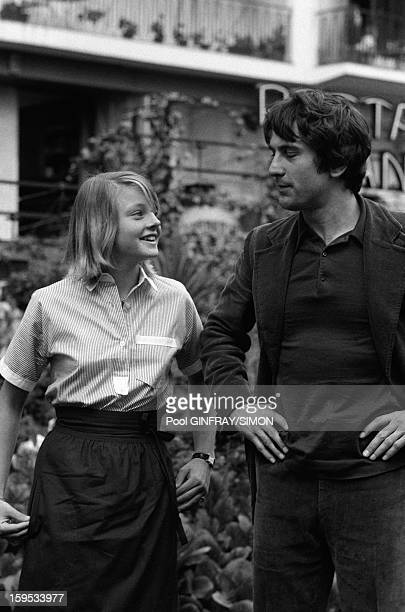 Jodie Foster and Robert De Niro actors of movie Taxi Driver directed by Martin Scorsese at Cannes Film Festival in May 1976 in Cannes France