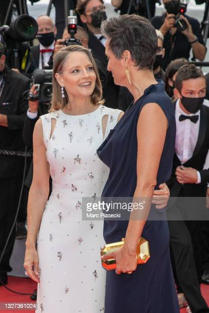 """Jodie Foster and wife Alexandra Hedison attend the """"Annette"""" screening and opening ceremony during the 74th annual Cannes Film Festival on July 06,..."""