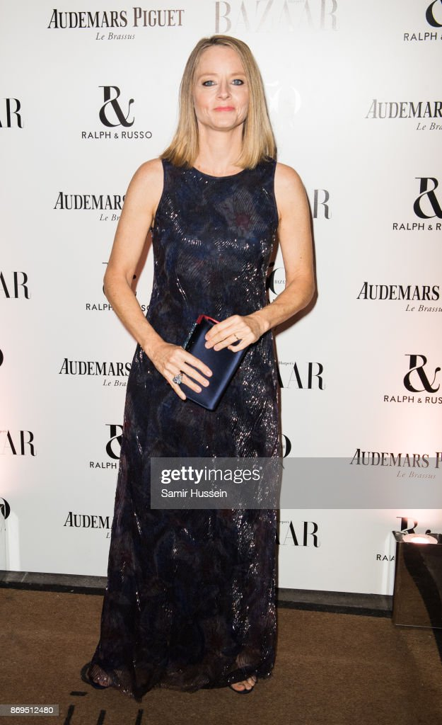 Jodie Foster arrives at the Harper's Bazaar Woman Of The Year Awards held at Claridges Hotel on November 2, 2017 in London, England.