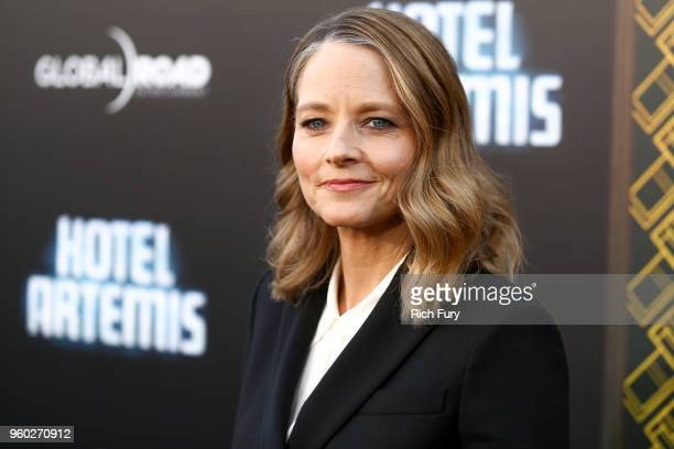 "Jodie Foster attends Global Road Entertainment's ""Hotel Artemis"" premiere at Regency Village Theatre on May 19, 2018 in Westwood, California."
