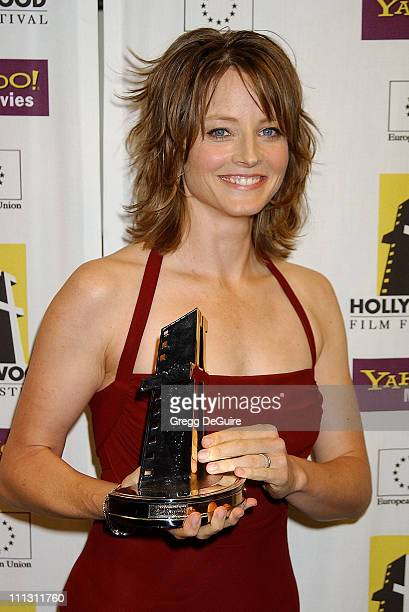 Jodie Foster during Hollywood Film Festival's Hollywood Movie Awards Arrivals Backstage at Beverly Hilton Hotel in Beverly Hills California United...
