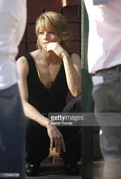 Jodie Foster during Jodie Foster and Terrence Howard on Set of the Still Photo Shoot for 'The Brave One' July 30 2006 in Chelsea New York United...