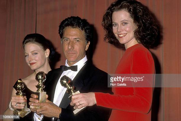 Jodie Foster Dustin Hoffman and Sigourney Weaver during The 46th Annual Golden Globe Awards Pressroom at Beverly Hilton Hotel in Beverly Hills...