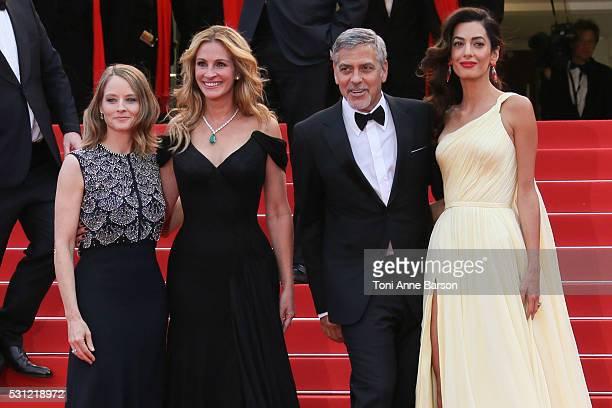 Jodie Foster Julia Roberts George Clooney and Amal Clooney attend the Money Monster Premiere during the 69th annual Cannes Film Festival on May 12...