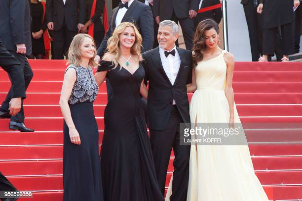 Jodie Foster Julia Roberts George Clooney and his wife Amal Clooney attend the 'Money Monster' premiere during the 69th annual Cannes Film Festival...