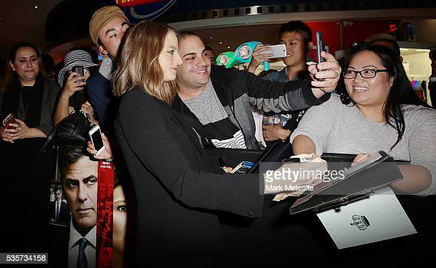 Jodie Foster poses with fan ahead of the Money Monster Australian Premiere at Event Cinemas George Street on May 30 2016 in Sydney Australia