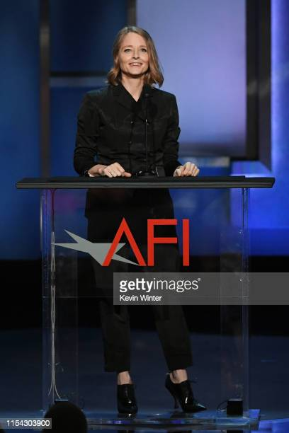 Jodie Foster speaks onstage during the 47th AFI Life Achievement Award honoring Denzel Washington at Dolby Theatre on June 06 2019 in Hollywood...