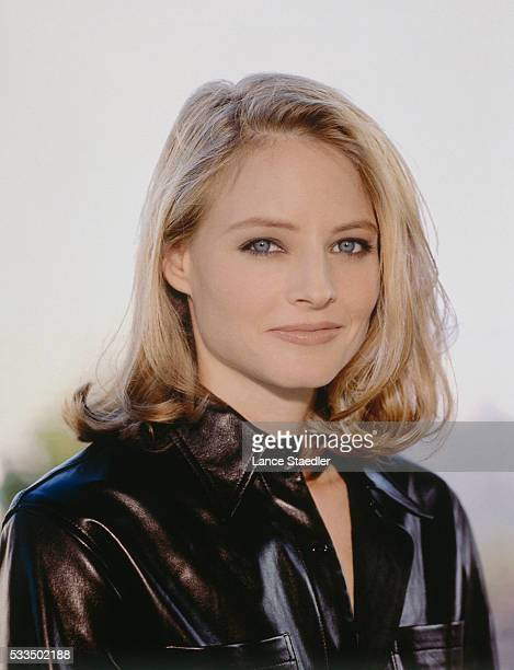 Jodie Foster Wearing a Black Leather Shirt
