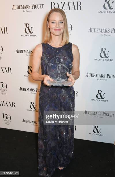 Jodie Foster winner of the Inspiration Award attends Harper's Bazaar Women of the Year Awards in association with Ralph Russo Audemars Piguet and...