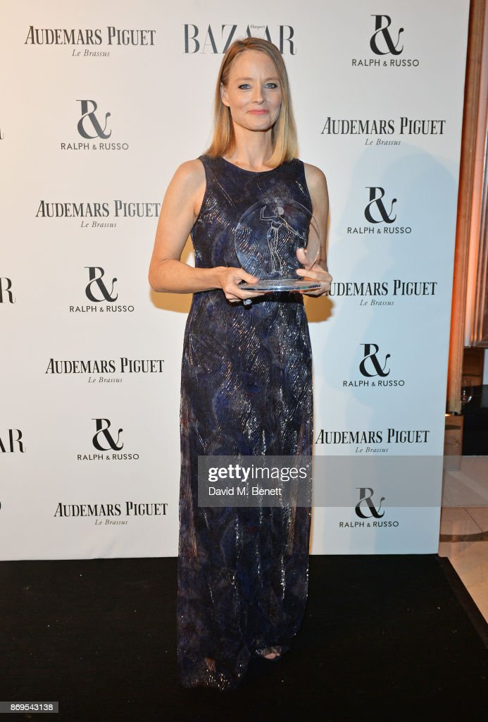 Jodie Foster, winner of the Inspiration Award, attends Harper's Bazaar Women of the Year Awards in association with Ralph & Russo, Audemars Piguet and Mercedes-Benz at Claridge's Hotel on November 2, 2017 in London, England.