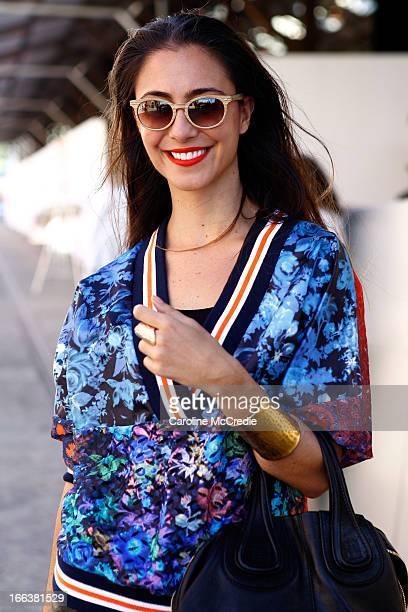 Jodie Fox wears a top by Romance was Born skirt by ASOS shoes by Romance was Born by Shoes of Prey at MercedesBenz Fashion Week Australia...