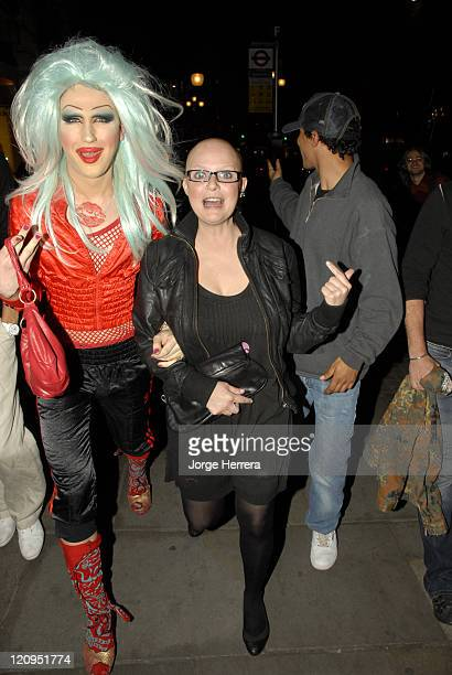 Jodie Harsh and Gail Porter during The Marine Connection Charity Evening April 25 2007 at Chinawhites in London Great Britain