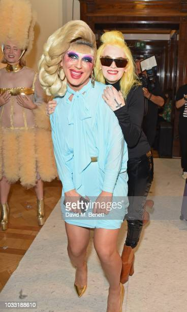 Jodie Harsh and Pam Hogg pose backstage at the Pam Hogg show during London Fashion Week September 2018 at The Freemason's Hall on September 14 2018...