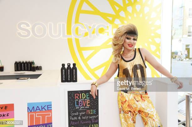 Jodie Harsh Queen supreme of London's nightlife kicks off Pride month at SoulCycle London with a DJ set ride on July 04 2019 in London England