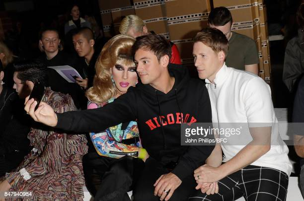 Jodie Harsh, Tom Daley and Dustin Lance Black attend the Nicopanda show during London Fashion Week September 2017 on September 16, 2017 in London,...