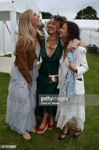 Jodie Kidd Alice Temperley and guest attend the Cartier Queen's Cup Polo Final at Guards Polo Club on June 17 2018 in Egham England