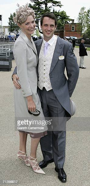 Jodie Kidd and Aidan Butler arrive for the second day of Royal Ascot 2006 at Ascot Racecourse on June 21 2006 in Ascot England