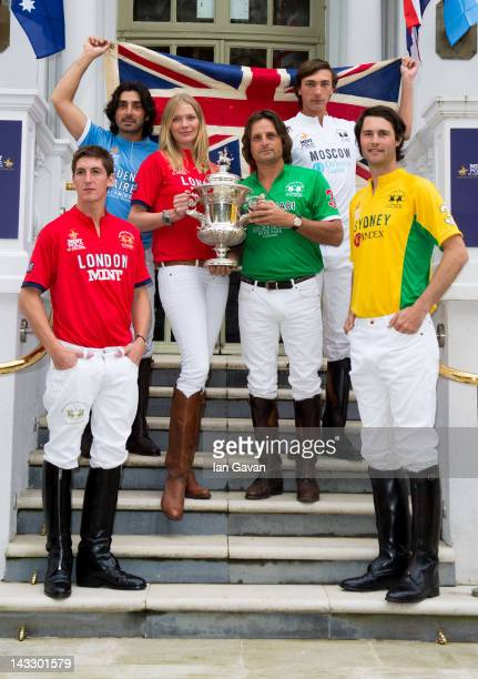 Jodie Kidd and Andrea Vianini pose for photos as they officially launch the MINT Polo in the Park at the Mandarin Oriental Hyde Park on April 23 2012...
