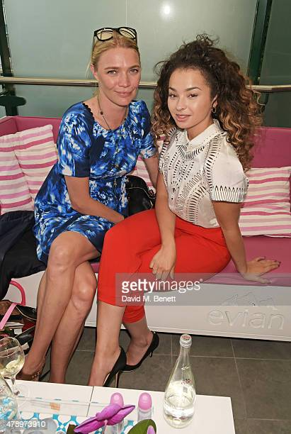 Jodie Kidd and Ella Eyre attend the evian Live Young suite on the opening day of Wimbledon at the All England Lawn Tennis and Croquet Club on June 29...