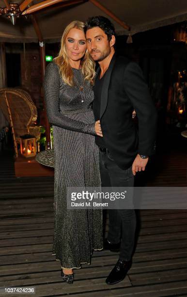 Jodie Kidd and Joseph Bates attend Jodie Kidd's 40th birthday party with PerrierJouet at The Mandrake on September 21 2018 in London England