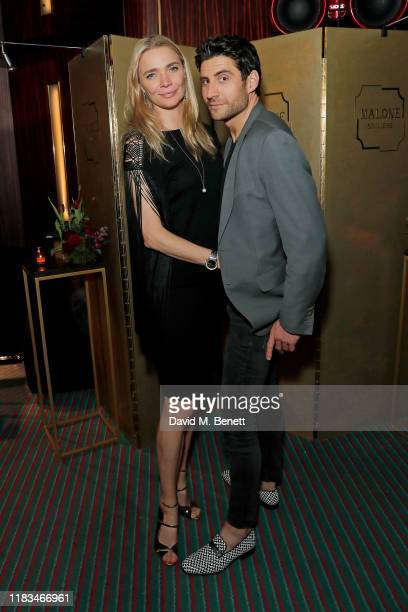 Jodie Kidd and Joseph Bates attend the launch of Malone Souliers' debut men's footwear collection at Isabel on November 19 2019 in London England