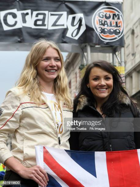 Jodie Kidd and Martine McCutcheon at the start of the car rally Gumball 3000 at Pall Mall in London
