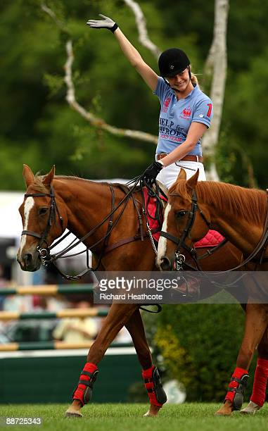 Jodie Kidd and Phil Packer ride at Hickstead to raise awareness for the Riding for the Disabled and Help for Heroes charities during The British...