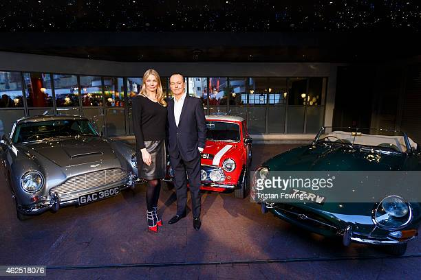 Jodie Kidd and Quentin Willson hosts of the Classic Car Show first airing February 5 at 7pm on Channel 5 pose with an Aston Martin DB5 Mini Cooper...