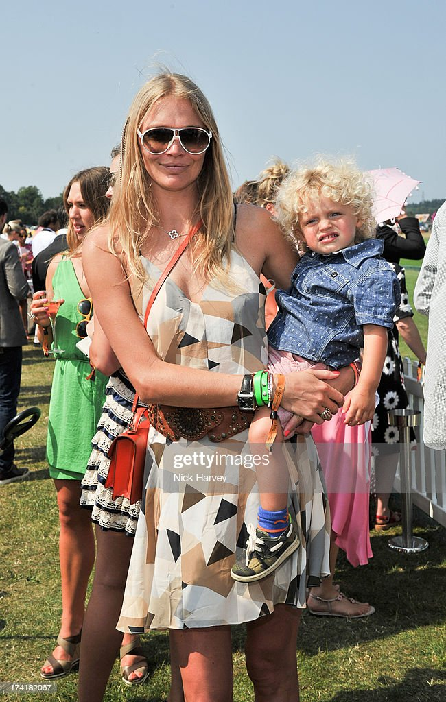 Jodie Kidd and son Indio Kidd attend the Veuve Clicquot Gold Cup final at Cowdray Park Polo Club on July 21, 2013 in Midhurst, England.