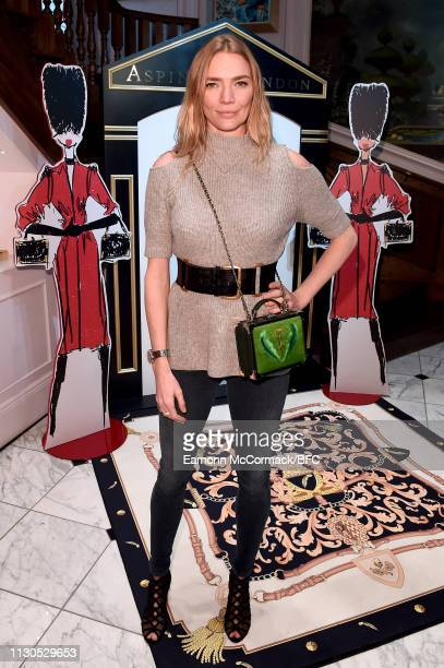 Jodie Kidd attends the Aspinal of London AW19 presentation during London Fashion Week February 2019 at the Aspinal Of London on February 18 2019 in...