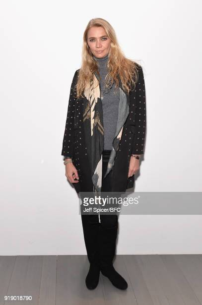 Jodie Kidd attends the Marta Jakubowski show during London Fashion Week February 2018 at BFC Show Space on February 16 2018 in London England