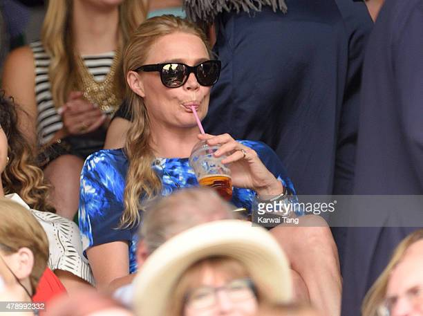 Jodie Kidd attends the Philipp Kohlschreiber v Novak Djokovic match on day one of the Wimbledon Tennis Championships on June 29 2015 in London England