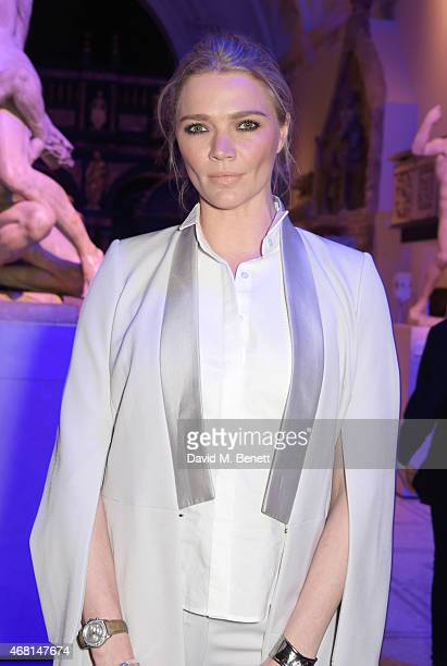 Jodie Kidd attends the Samsung BlueHouse private view of the 'Alexander McQueen Savage Beauty' exhibition at the Victoria Albert Museum on March 30...