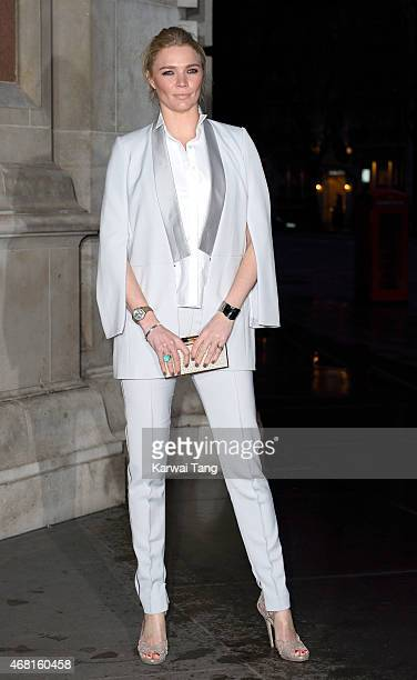 Jodie Kidd attends the Samsung BlueHouse private view of the Savage Beauty Exhibition celebrating Alexander McQueen at Victoria Albert Museum on...
