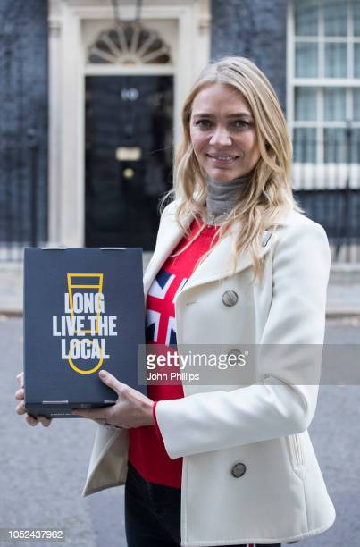 Jodie Kidd delivers a petition to 10 Downing Street on October 18 2018 in London England calling for a cut in beer duty in the Autumn Budget to help...