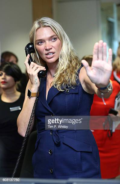 Jodie Kidd making a trade at BGC Annual Global Charity Day at Canary Wharf on September 12 2016 in London England
