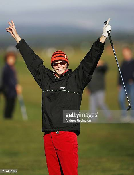 Jodie Kidd, the model, celebrates after holing her third shot for a birdie on the infamous 17th hole during the second round of of the Dunhill Links...