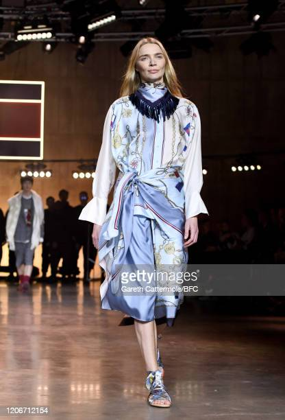 Jodie Kidd walks the runway at the TommyNow show during London Fashion Week February 2020 at the Tate Modern on February 16, 2020 in London, England.