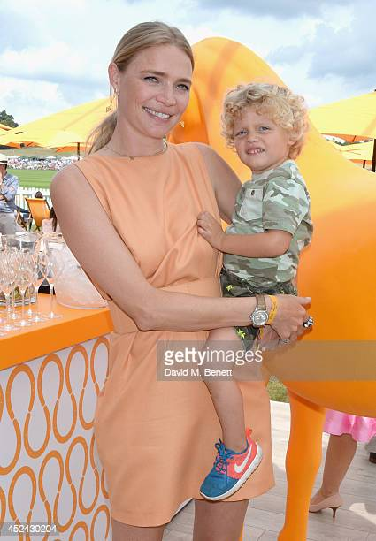 Jodie Kidd with her son Indio attend the Veuve Clicquot Gold Cup Final at Cowdray Park Polo Club on July 20 2014 in Midhurst England