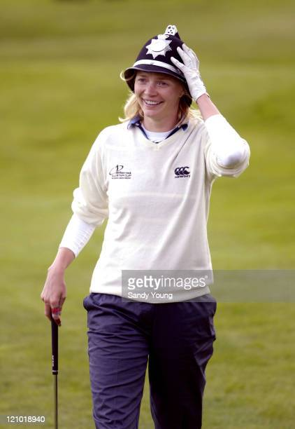 Jodie Kidd with policemans hat on during The Northern Rock All Star Charity Gala Golf Tournament Final Day at Celtic Manor Resort in wales Wales...